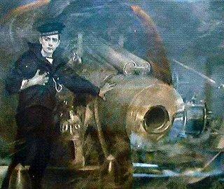 Schilderij van John Cornwell aan zijn scheepsgeschut