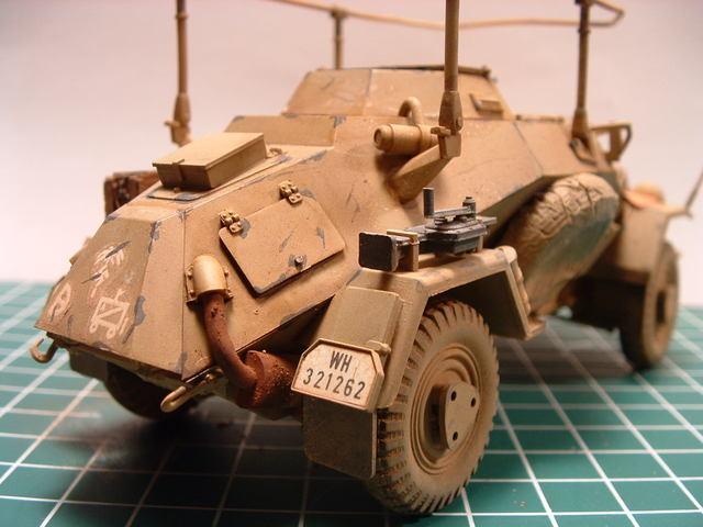 Achterkant van de Sd. Kfz 223 FU modelbouw.